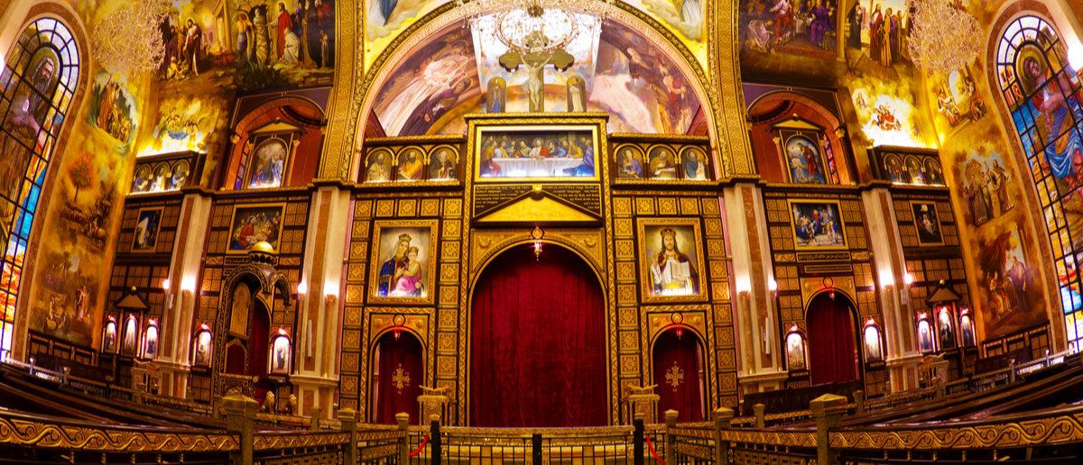 Interior of coptic church , Sharm-el-Sheik, Sinai, Egypt. Shutterstock/ serg_dibrova