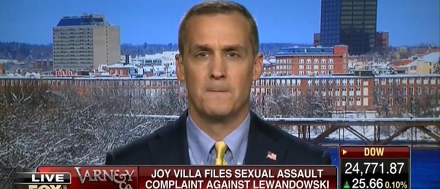 Cory Lewandowski dodges a sexual assault question on Fox Business 12-27-17. (Photo: Screenshot/Fox Business)