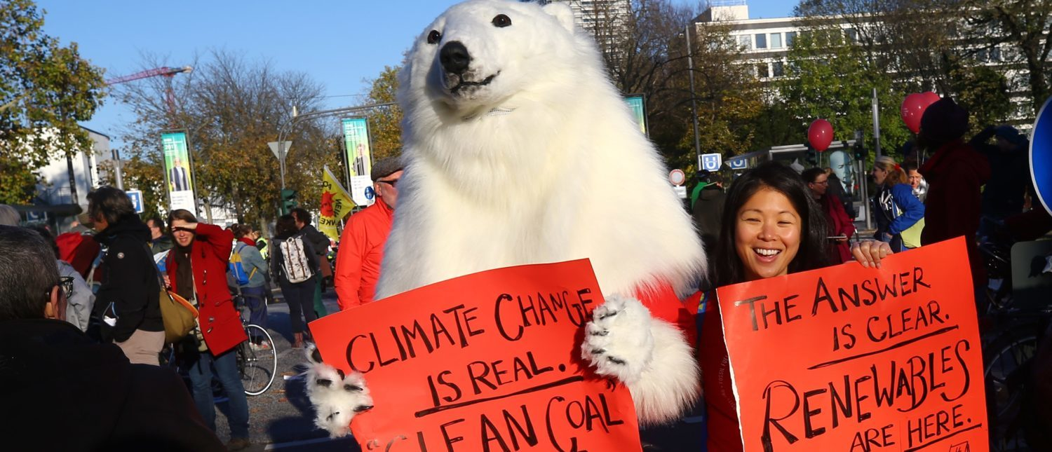 "A protester dressed as a polar bear attends a demonstration under the banner ""Protect the climate - stop coal"" two days before the start of the COP 23 UN Climate Change Conference hosted by Fiji but held in Bonn, Germany November 4, 2017. REUTERS/Wolfgang Rattay"