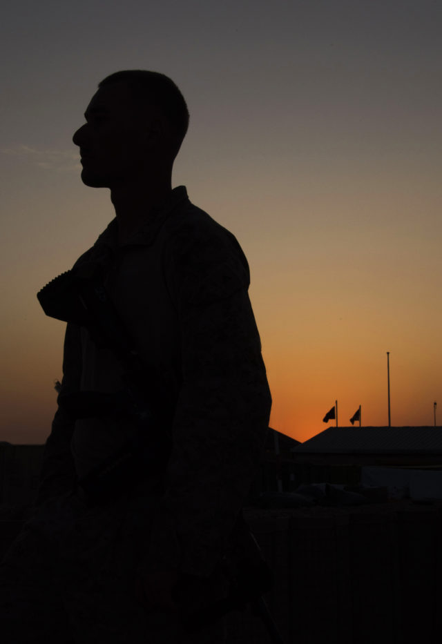 The sun sets over Camp Shorab. Roughly 300 Marines are currently stationed in Helmand Province in southern Afghanistan to train, advise and assist Afghan security forces as they battle the Taliban. (Hailey Sadler)
