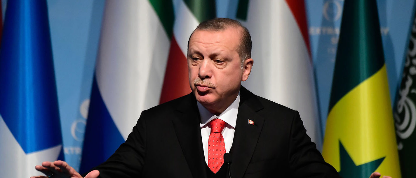 Turkish President Recep Tayyip Erdogan speaks as he holds a press conference following the Extraordinary Summit of the Organisation of Islamic Cooperation (OIC) on last week's US recognition of Jerusalem as Israel's capital, on December 13, 2017, in Istanbul. (Photo: YASIN AKGUL/AFP/Getty Images)