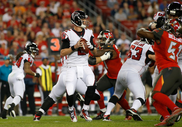 TAMPA, FL - DECEMBER 18: Quarterback Matt Ryan #2 of the Atlanta Falcons looks for a receiver during the first quarter of an NFL football game against the Tampa Bay Buccaneers on December 18, 2017 at Raymond James Stadium in Tampa, Florida. (Photo by Brian Blanco/Getty Images)