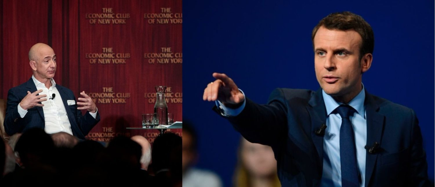 Left: Jeff Bezos, Chairman and founder of Amazon.com and owner of The Washington Post, addresses the Economic Club of New York. (Photo by Drew Angerer/Getty Images) Right: French presidential election candidate for the En-Marche movement Emmanuel Macron gestures as he delivers a speech during a campaign rally in Dijon on March 23, 2017. (Photo: ERIC FEFERBERG/AFP/Getty Images)