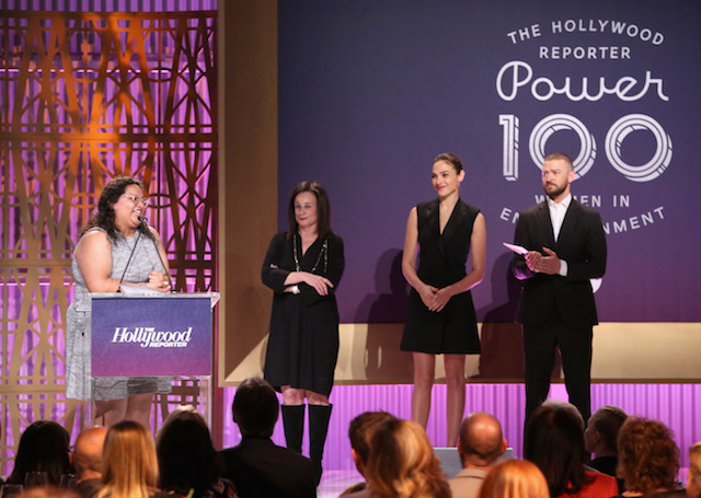 LOS ANGELES, CA - DECEMBER 06: (L-R) Carla Arellano, Laurie Zaks, Gal Gadot and Justin Timberlake speak onstage at The Hollywood Reporter's 2017 Women In Entertainment Breakfast at Milk Studios on December 6, 2017 in Los Angeles, California. (Photo by Jesse Grant/Getty Images) *** Local Caption *** Gal Gadot; Justin Timberlake; Laurie Zaks; Carla Arellano