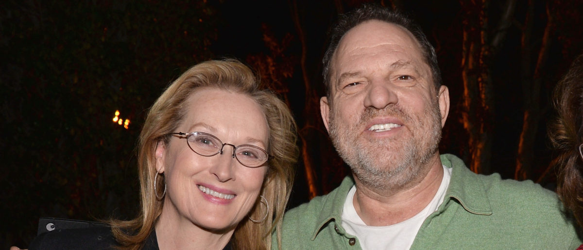 "Actress Meryl Streep and producer Harvey Weinstein attend a Q&A session following a screening of The Weinstein Co.'s ""August: Osage County"" at the DGA Theater on January 5, 2014 in Los Angeles. (Photo by Alberto E. Rodriguez/Getty Images)"