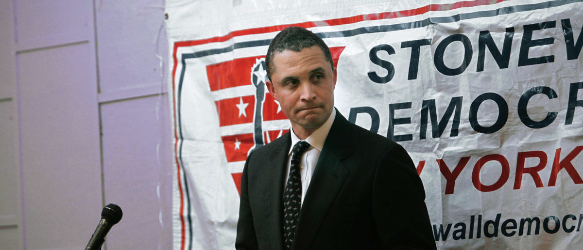 Harold Ford Jr. stands on stage at the Stonewall Democratic Club February 24, 2010 in New York City.  (Photo by Chris Hondros/Getty Images)