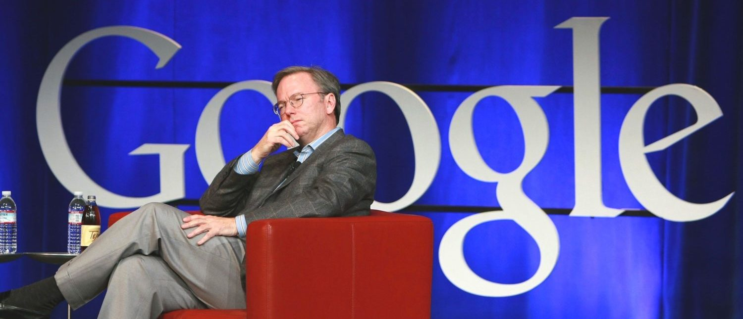 MOUNTAIN VIEW, CA - OCTOBER 27:  Google CEO Eric Schmidt looks on during a conversation with U.S. Speaker of the House Nancy Pelosi October 27, 2008 at Google headquarters in Mountain View, California. Pelosi and Schmidt engaged in a conversation and answered questions as part of the Google speaker series.  (Photo by Justin Sullivan/Getty Images)