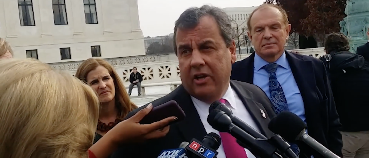 Gov. Chris Christie speaks on the steps of the U.S. Supreme Court in Dec. 2017. (YouTube screenshot/NJ.com)