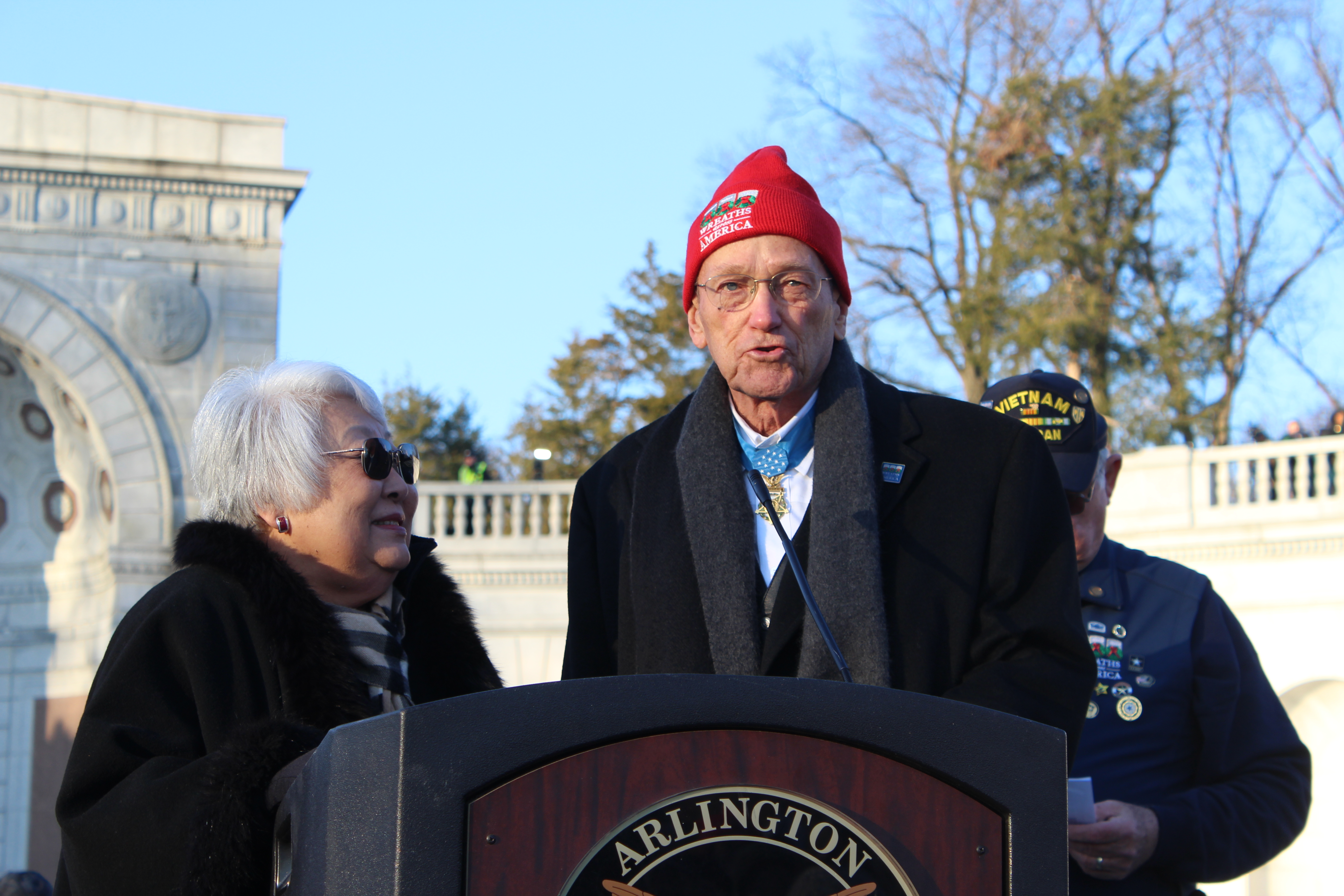 Medal of Honor Recipient Col. Roger Donolon Addresses Opening Ceremony Of Wreaths Across America Dec 16, 2017 (Julia Nista/The Daily Caller)