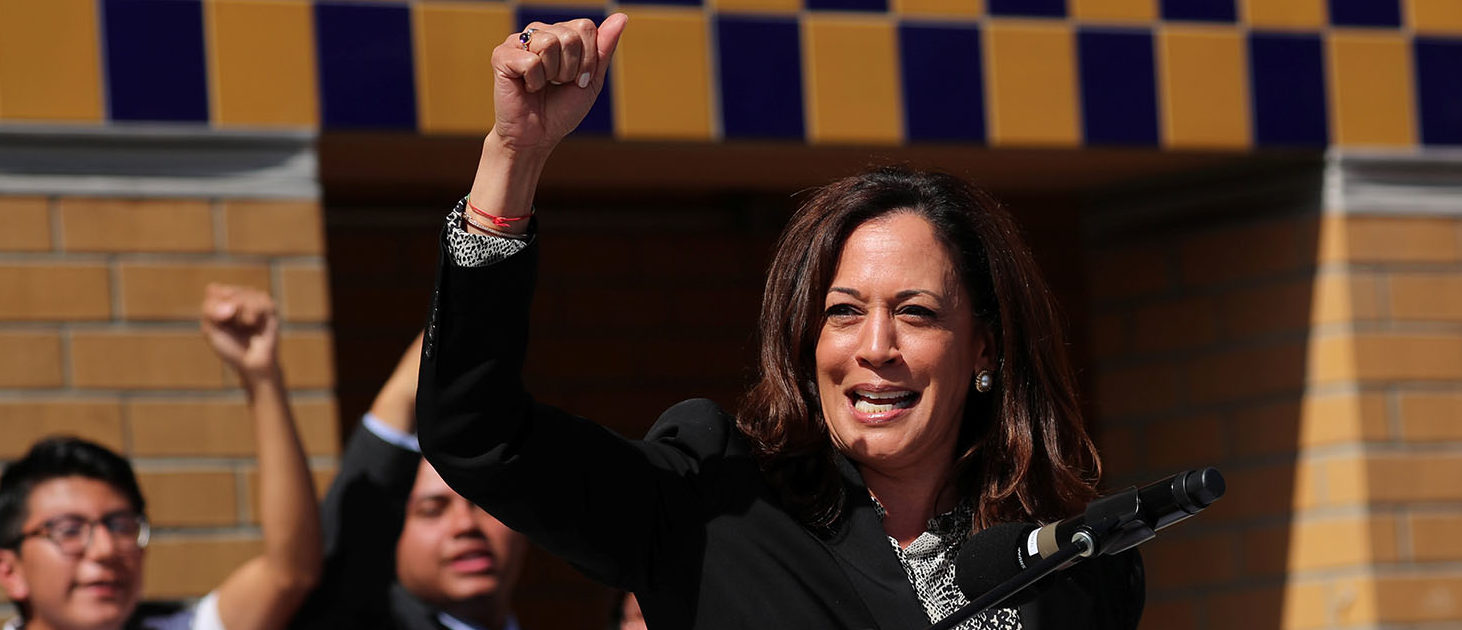 Senator Kamala Harris, D-California, speaks at rally in support of DACA (Deferred Action for Childhood Arrivals) at the University of California Irvine Student Center in Irvine, California, U.S., October 11, 2017. REUTERS/Mike Blake