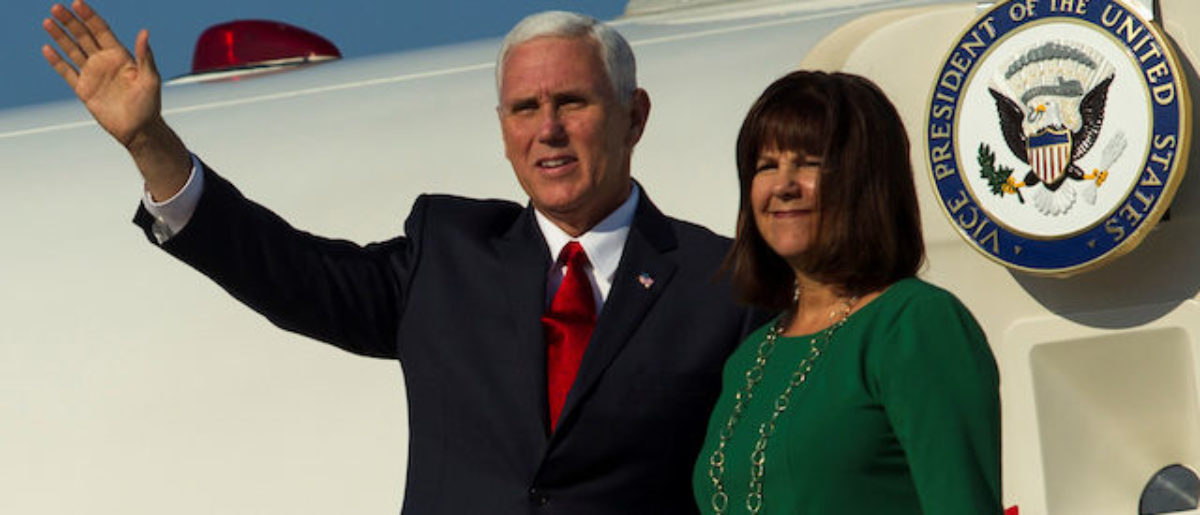 U.S. Vice President Mike Pence and Second Lady Karen Pence wave from U.S. Air Force Two as they arrive in Podgorica, Montenegro, August 1, 2017. REUTERS/Stevo Vasiljevic - RC1BEA1E6F70
