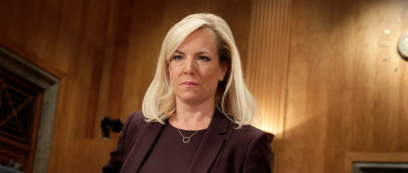 Kirstjen Nielsen arrives to testify to the Senate Homeland Security and Governmental Affairs Committee on her nomination to be secretary of the Department of Homeland Security (DHS) in Washington, U.S., November 8, 2017. REUTERS/Joshua Roberts