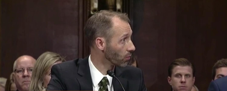 Matthew Petersen at his confirmation hearing in Dec. 2017. (Screenshot)