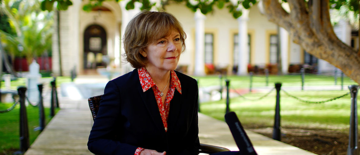 Minnesota Lieutenant Governor Tina Smith speaks during an interview at a Hotel in Havana, Cuba, June 22, 2017. REUTERS/Alexandre Meneghini - RC18C1CFECA0