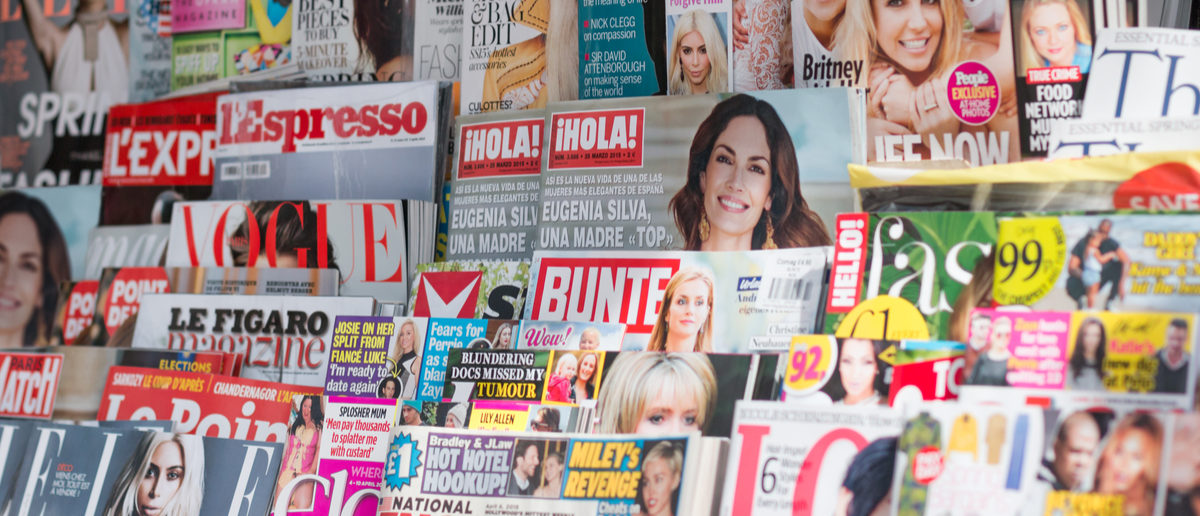 LONDON, UNITED KINGDOM- 1 APRIL 2015: Newsstand found in central London displaying many international titles such as Psychologies Magazine, InStyle, Vogue, Marie Claire and Harper's Bazaar Magazine. (Photo: Shutterstock/ Lawrey