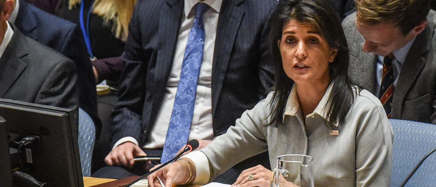 U.S. Ambassador to the United Nations Nikki Haley delivers a speech during a United Nations Security Council meeting on the situation in Palestine at the United Nations headquarters on December 8, 2017 in New York City. Deadly clashes broke out in Jerusalem and the West Bank after US President Donald Trump's decision to recognize Jerusalem as the capital of Israel. (Photo by Stephanie Keith/Getty Images)