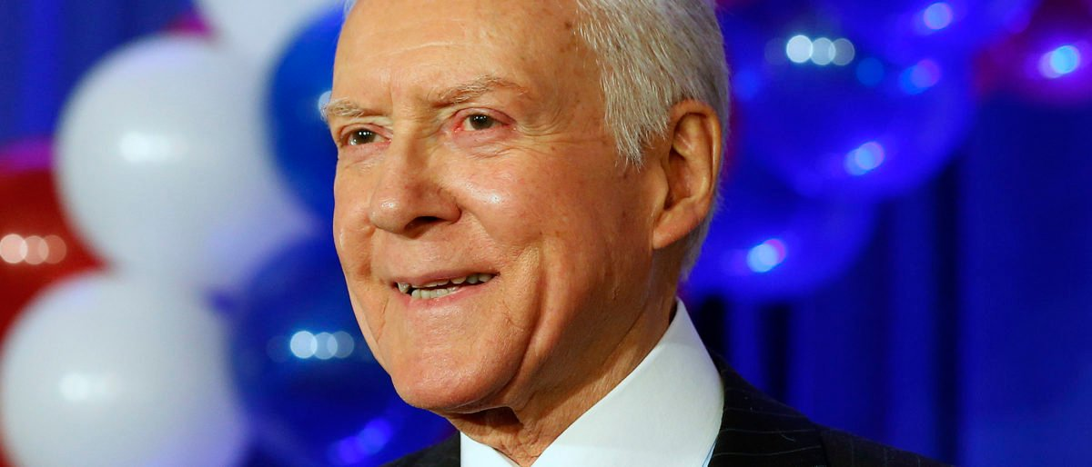 U.S. Senator Orrin Hatch (R-UT) addresses supporters during his victory in his re-election at the Republican headquarters at the Hilton Hotel in Salt Lake City, Utah, November 6, 2012. REUTERS/George Frey