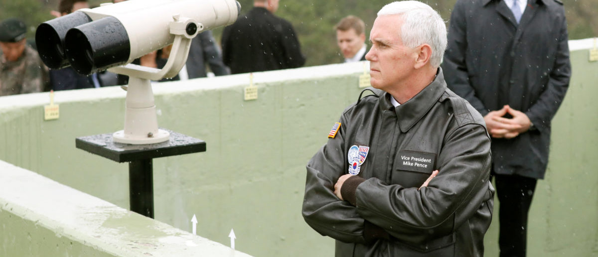 U.S. Vice President Mike Pence looks toward the north from an observation post inside the demilitarized zone separating the two Koreas, in Paju, South Korea, April 17, 2017. REUTERS/Kim Hong-Ji - RC1AF60EACB0