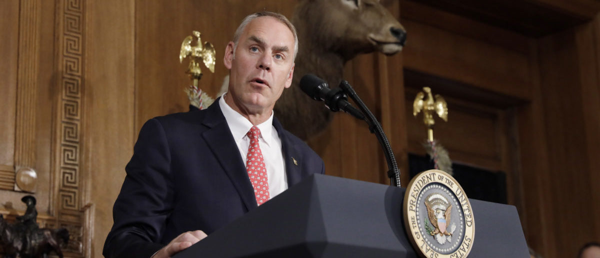 U.S. Interior Secretary Ryan Zinke speaks prior to President Donald Trump signing an executive order reviewing previous National Monument designations made under the Antiquities Act, at the Interior Department in Washington, U.S., April 26, 2017. REUTERS/Kevin Lamarque