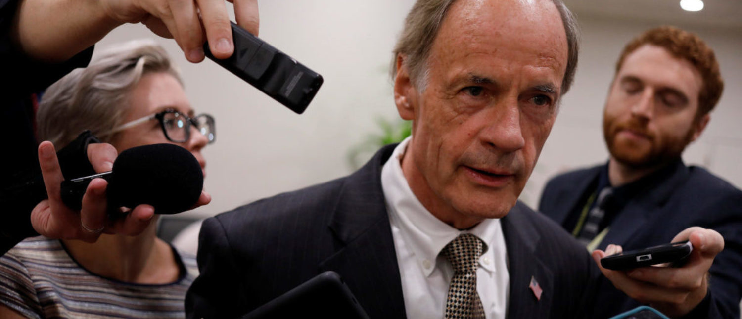 Senator Tom Carper (D-DE) speaks to reporters ahead of the weekly party luncheons on Capitol Hill in Washington, U.S., August 1, 2017. REUTERS/Aaron P. Bernstein