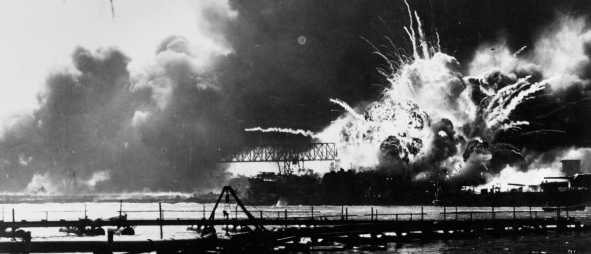 The USS Shaw explodes during the second Japanese attack wave on Pearl Harbor. (Photo credit: U.S. Naval History and Heritage Command/Handout via Reuters)