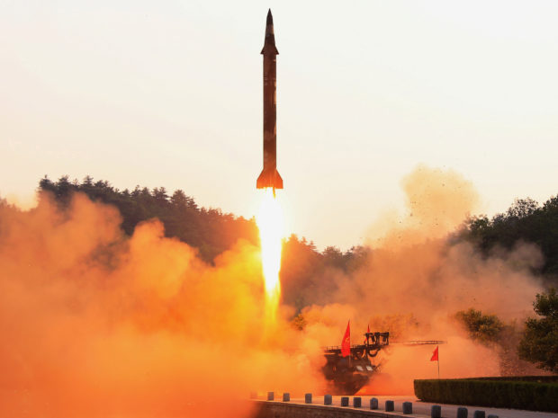 A ballistic rocket is test-fired through a precision control guidance system in this undated photo released by North Korea's Korean Central News Agency (KCNA) May 30, 2017. KCNA/via REUTERS