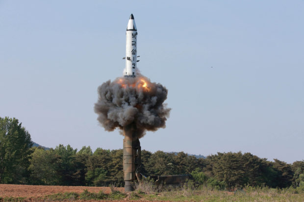 The scene of the intermediate-range ballistic missile Pukguksong-2's launch test in this undated photo released by North Korea's Korean Central News Agency (KCNA) May 22, 2017. KCNA/via REUTERS/File photo