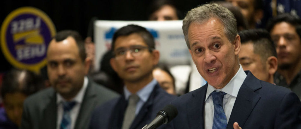 New York Attorney General Eric T. Schneiderman announces the filing of a multistate lawsuit to protect Deferred Action for Childhood Arrivals (DACA) recipients at a press conference at John Jay College in New York City, U.S., September 6, 2017. REUTERS/Joe Penney - RC1E23BC1700