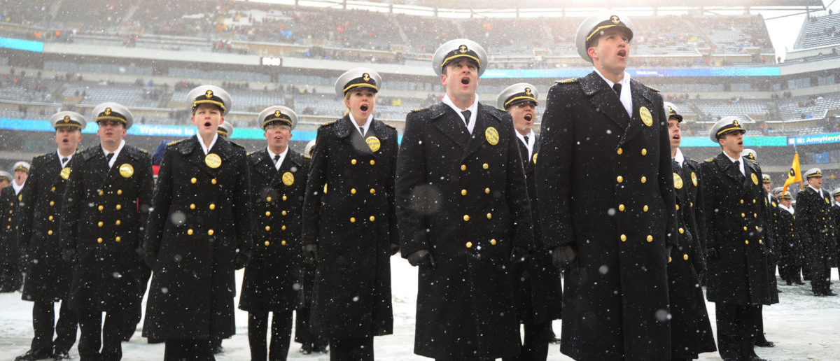 Dec 9, 2017; Philadelphia, PA, USA; The Navy Midshipmen stand on the field in formation before the start of the 118th Army Navy game at Lincoln Financial Field. Mandatory Credit: James Lang-USA TODAY Sports/Reuters