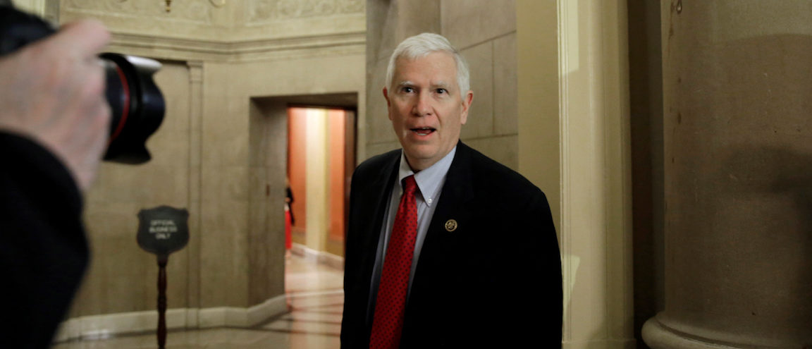 U.S. Representative Mo Brooks (R-AL) address reporters as he walks into a Speaker's office on Capitol Hill in Washington, U.S., March 23, 2017. (Photo: REUTERS/Yuri Gripas)