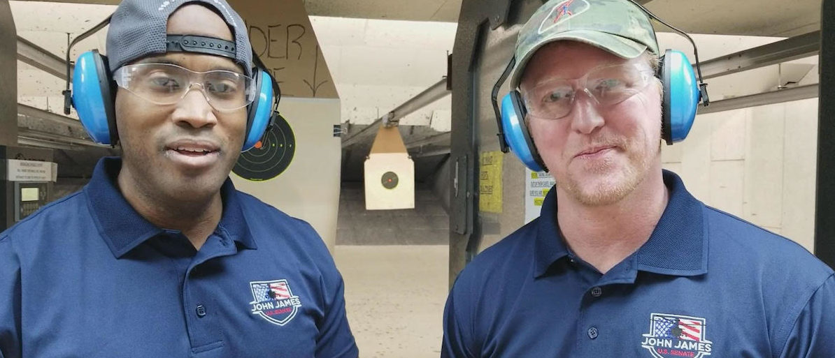 Robert O'Neill and John James are shooting at a Michigan Gun Range. (Photo: obtained By The Daily Caller News Foundation)