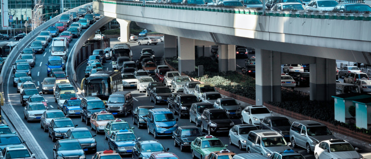 Automobile congestion in the morning rush hour. [Shutterstock - chuyuss]