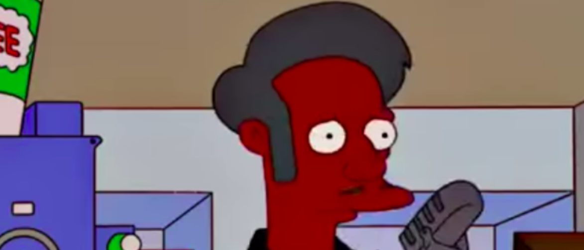 """The Simpsons"" character Apu Nahasapeemapetilon is at his job. (Youtube screenshot/The Bootstrap MF)"