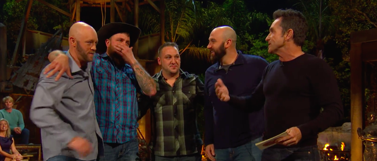Former Marine and 'Survivor' champion Ben Driebergen is reunited with fellow service members. (Screengrab/CBS)