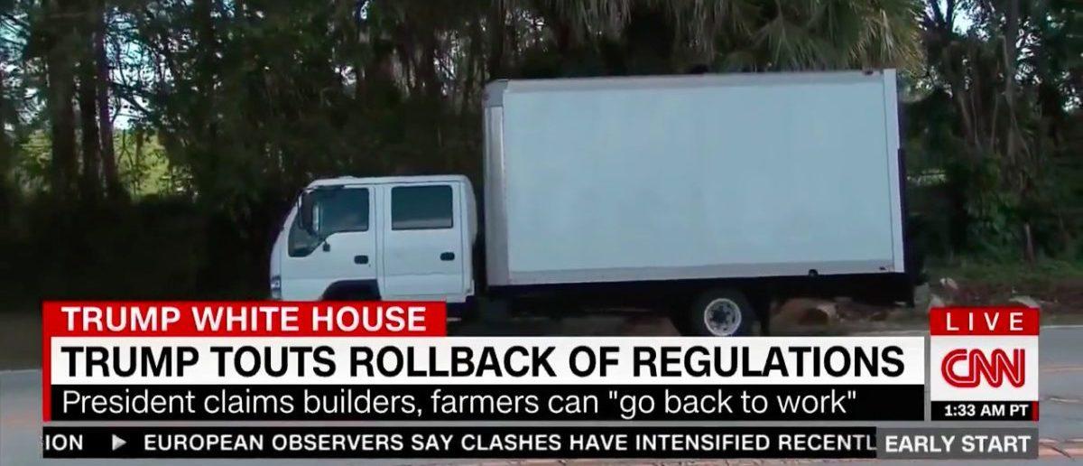 Screen Shot White Truck Ruins CNN's Day (CNN: Dec 28, 2017)