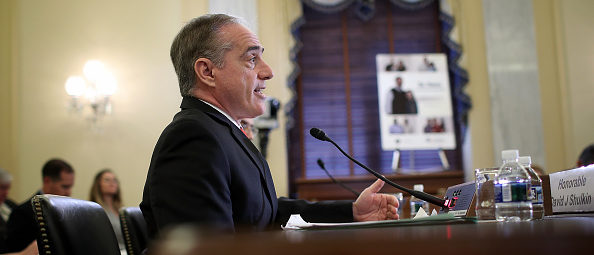 "WASHINGTON, DC - SEPTEMBER 27: Secretary of Veterans Affairs David Shulkin (L) testifies before the Senate Veterans Affairs Committee September 27, 2017 in Washington, DC. The committee heard testimony on the topic of ""Be There: What more can be done to prevent veteran suicide?"" (Photo by Win McNamee/Getty Images)"
