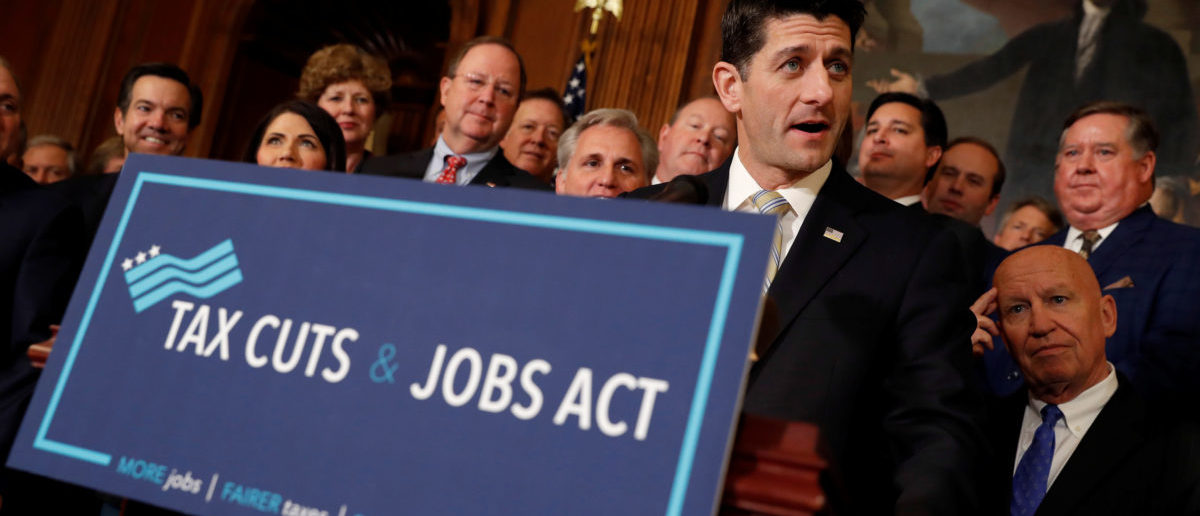 Speaker of the House Paul Ryan announcing the passage of the Tax Cuts and Jobs Act. November 16, 2017. REUTERS/Aaron P. Bernstein