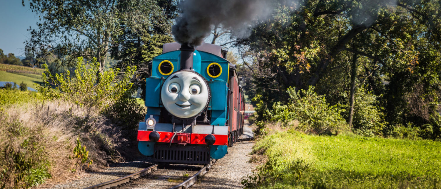Thomas the Tank Engine, the fictional steam locomotive from the children's books, chugs on the tracks in Lancaster County, Pennsylvania. (Shutterstock/George Sheldon)