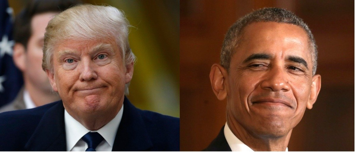 Here are photos of Donald Trump and Barack Obama. (Photos: Reuters/Jim Bourg, Getty Images/Chip Somodevilla)