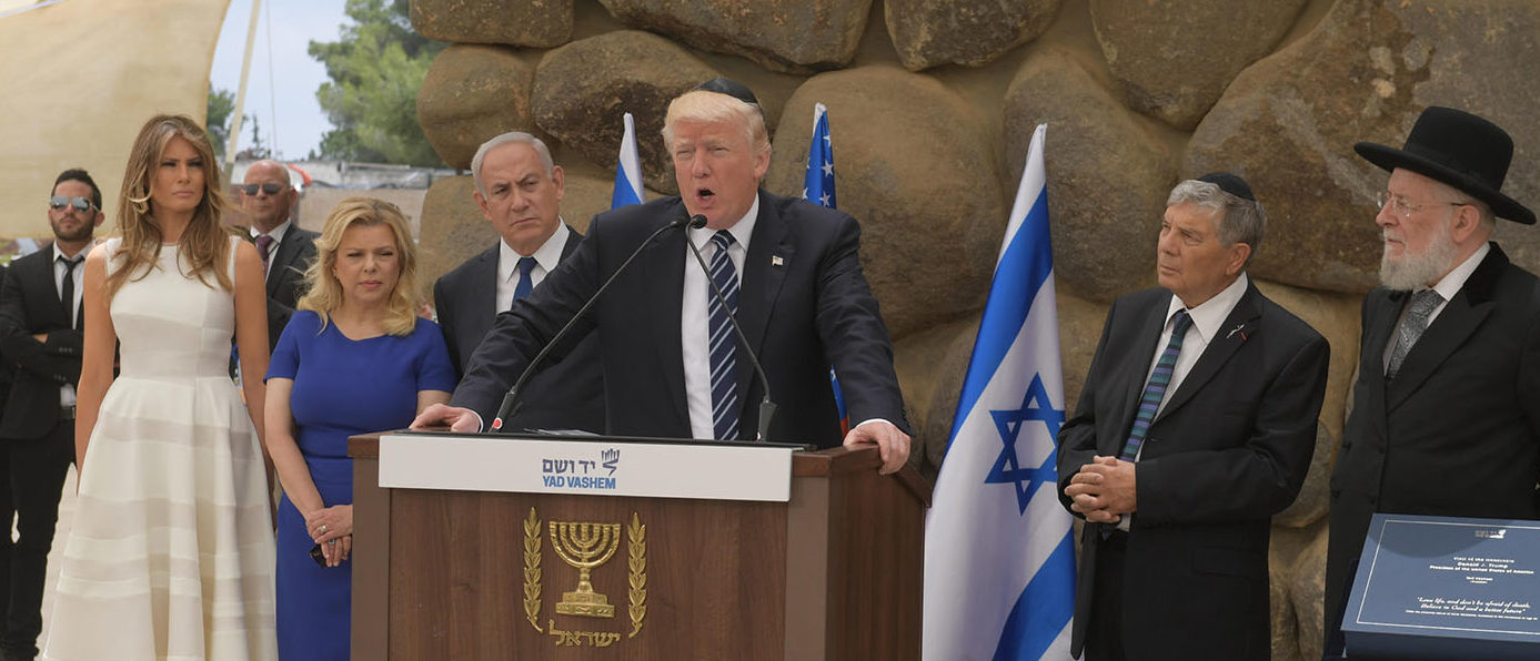 In this handout photo provided by the Israel Government Press Office (GPO),US President Donald Trump visit to Yad Vashem Holocaust museum in Jerusalem, Israel, accompanied by Prime Minister Benjamin Netanyahu on May 23, 2017 in Jerusalem, Israel. Trump arrived for a 28-hour visit to Israel and the Palestinian Authority areas on his first foreign trip since taking office in January.  (Photo by Amos Ben Gershom/GPO via Getty Images)