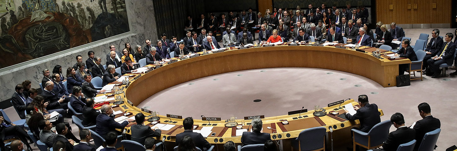 The United Nations Security Council meets concerning North Korea's nuclear ambitions, December 15, 2017 in New York City. On Thursday, UN Secretary-General Antonio Guterres said that the Security Council resolutions on North KoreaÕs nuclear programs must be fully implemented.(Photo by Drew Angerer/Getty Images)