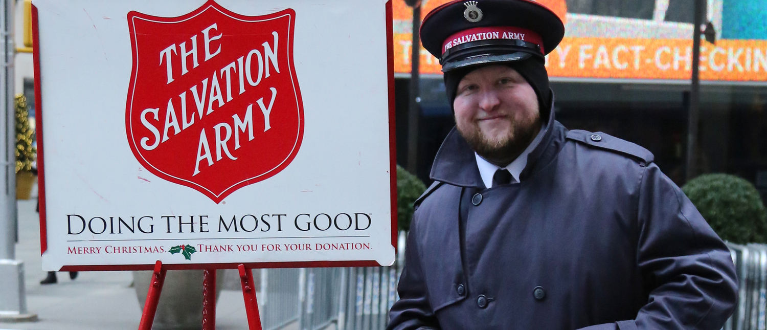 Salvation Army soldier performs for collections in midtown Manhattan (SHUTTERSTOCK/Leonard Zhukovsky)