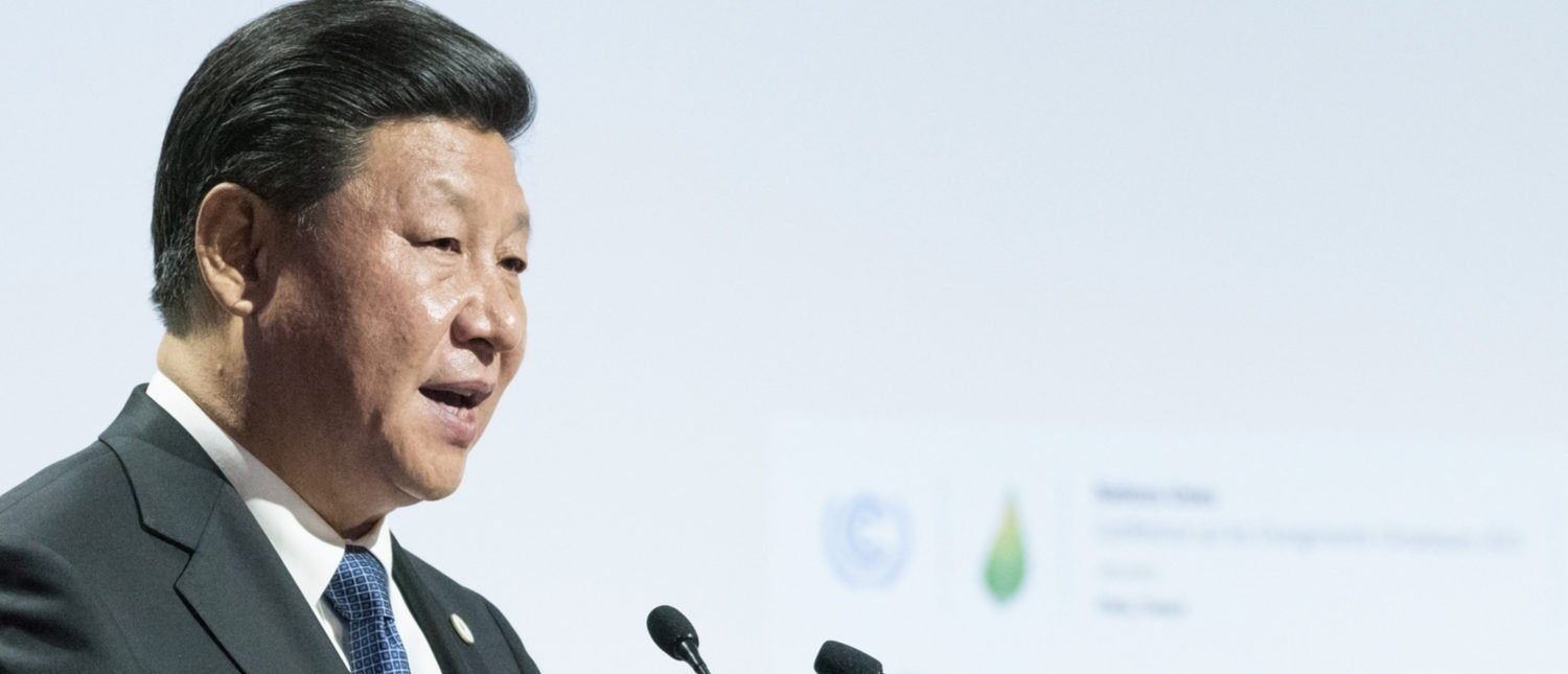 LE BOURGET near PARIS, FRANCE - NOVEMBER 30, 2015 : Xi Jinping, President of the People's Republic of China delivering his speech at the Paris COP21, United nations conference on climate change.Frederic Legrand - COMEO / Shutterstock.com)