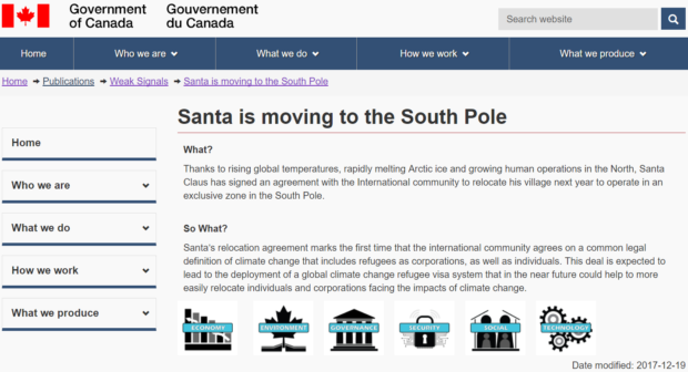 Santa moving south