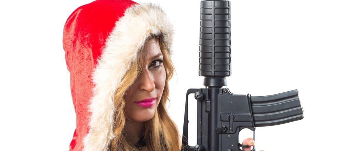 Christmas with a gun (Credit: Shutterstock)