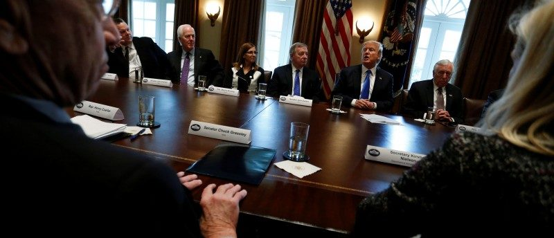 U.S. President Donald Trump holds a bipartisan meeting with legislators on immigration reform at the White House in Washington, January 9, 2018. REUTERS/Jonathan Ernst
