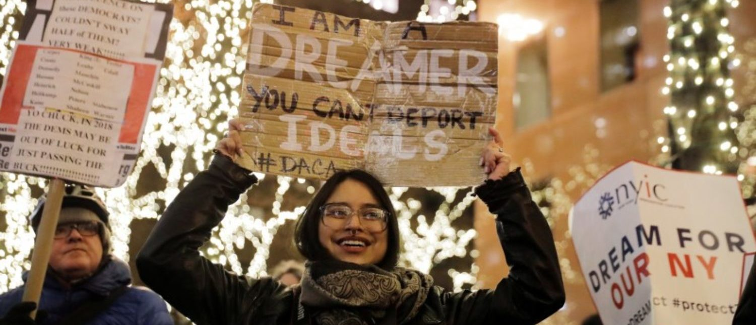 "FILE PHOTO: Deferred Action for Childhood Arrivals (DACA) recipient Gloria Mendoza participates in a demonstration in support of ""clean"" legislation in New York, U.S., January 10, 2018. Picture taken January 10, 2018. REUTERS/Lucas Jackson"