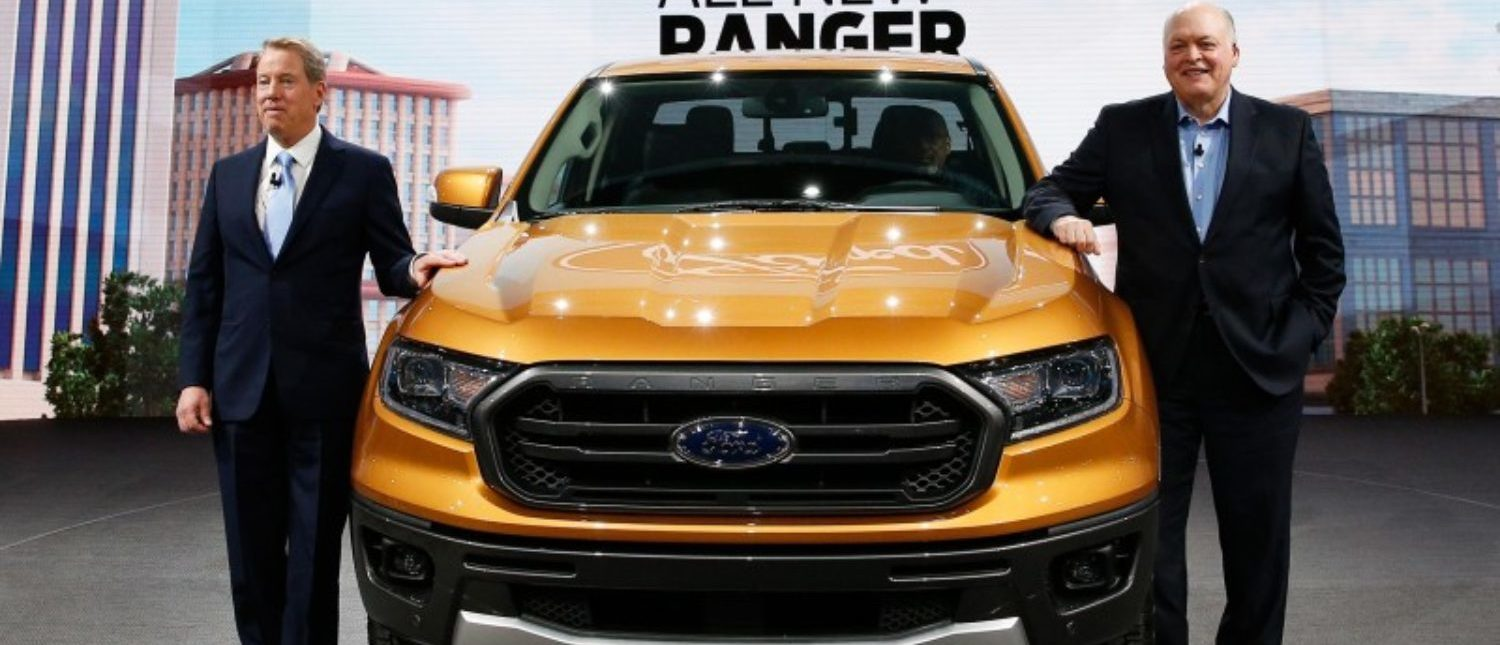 Bill Ford, executive chairman of the Ford Motor Company and Jim Hackett (R), President and CEO, present the 2019 Ford Ranger during the Ford press preview at the North American International Auto Show in Detroit, Michigan, U.S., January 14, 2018. REUTERS/Rebecca Cook