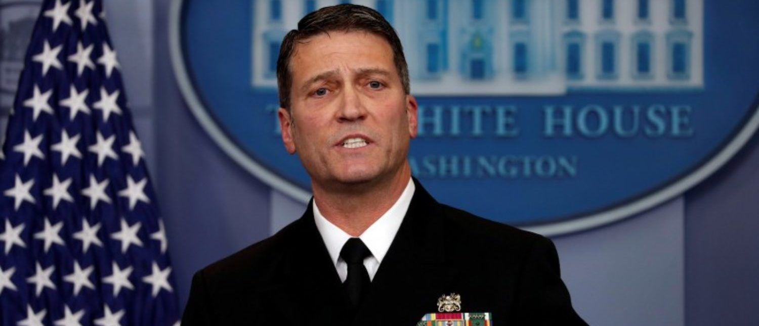 White House, Presidential physician Ronny Jackson answers question about U.S. President Donald Trump's health after the president's annual physical during the daily briefing at the White House in Washington, DC, U.S., January 16, 2018. REUTERS/Carlos Barria