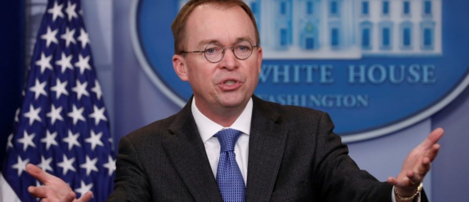 White House budget director Mick Mulvaney gestures as he holds a press briefing at the White House in Washington, U.S., January 19, 2018. REUTERS/Kevin Lamarque